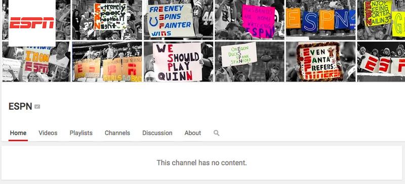 La página de ESPN YouTube