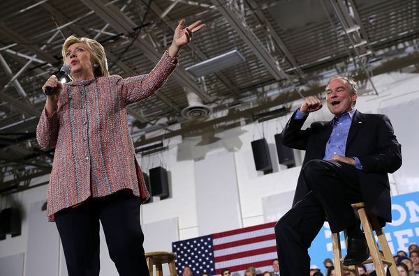 Kaine and Clinton on Bastille Day.