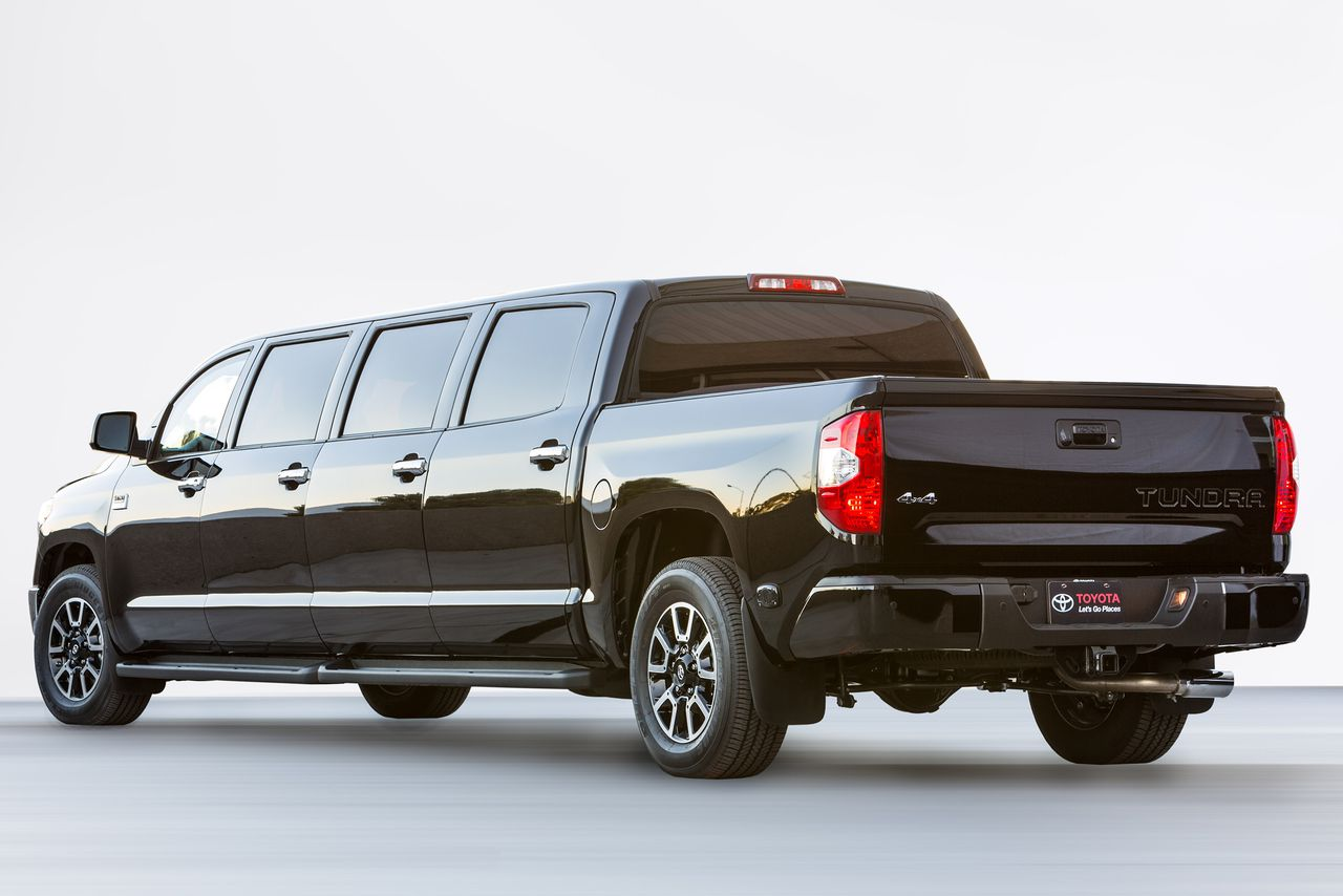 toyota builds a 26 foot long limo pickup truck because. Black Bedroom Furniture Sets. Home Design Ideas