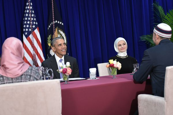 Obama participates in a roundtable discussion during his visit to the Islamic Society of Baltimore.