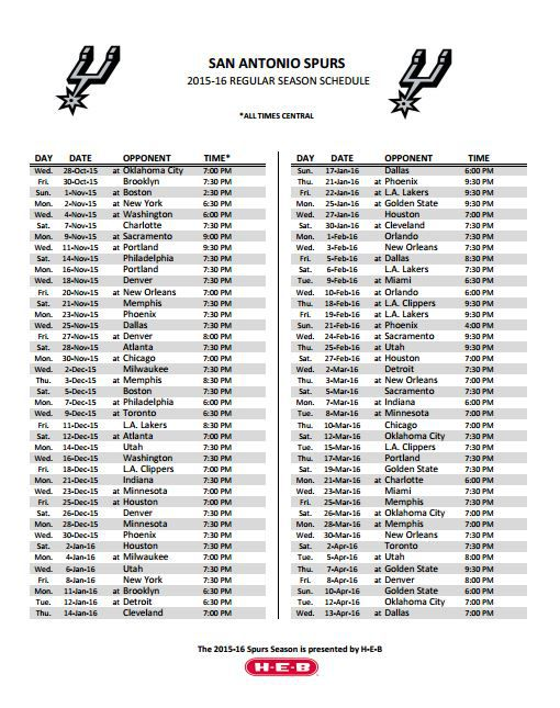 Epic image in spurs schedule printable