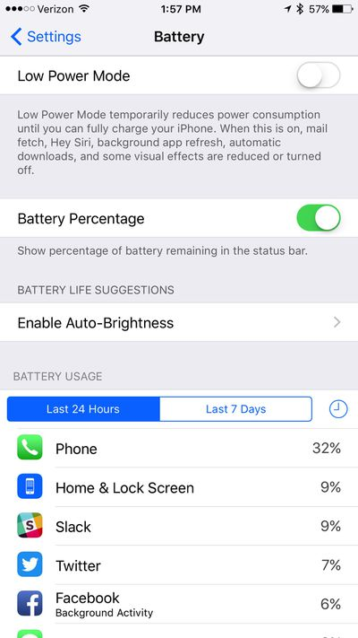 iOS 9 Low Power Battery
