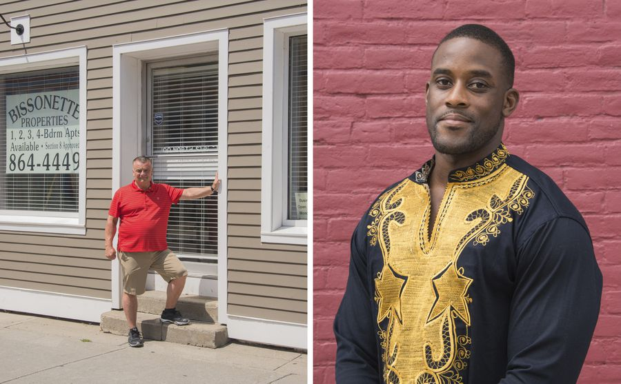 Left: Bill Bissonette outside of the front door of his office. Right: Prince Awhaitey in front of the market that his family owns.