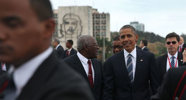 Obama in Havana, with a memorial to Che Guevara visible in the background.