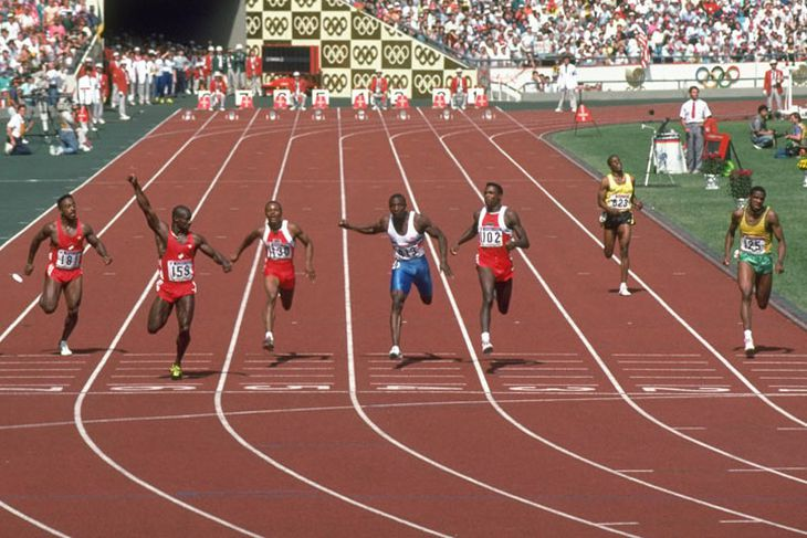 100 metres final at the Seoul Olympics in 1988