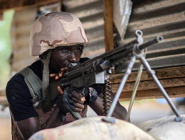 A Nigerian soldier near Yola, pictured in May.