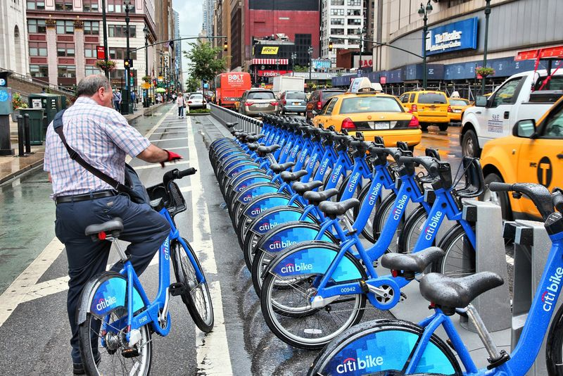 NYC uses bike sharing to cut down on transportation emissions.