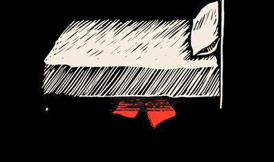 Illustration of something hidden under a bed.