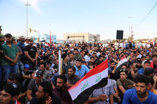 Supporters of Muqtada al-Sadr stage a protest calling for a technocratic government at the entrances to the Green Zone in Baghdad on April 18, 2016.