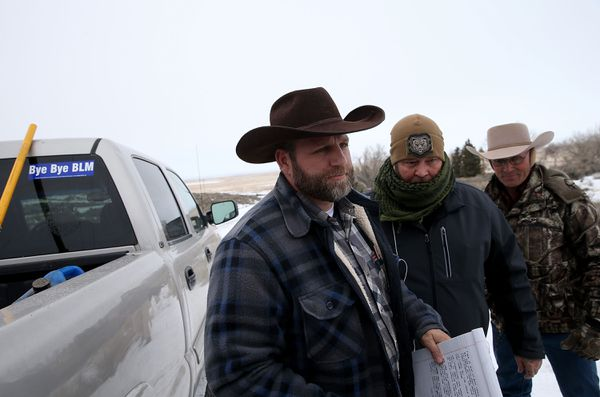 Ammon Bundy preapres to speak to members of the media on Tuesday.