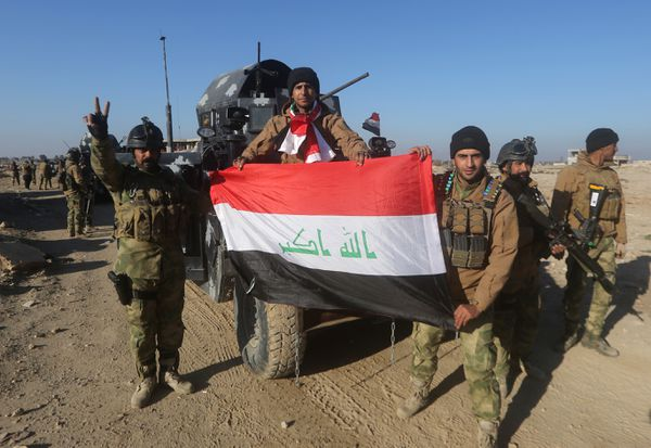 Members of Iraq's elite counter-terrorism service on December 29, 2015 in Ramadi, after retaking the city from ISIS.