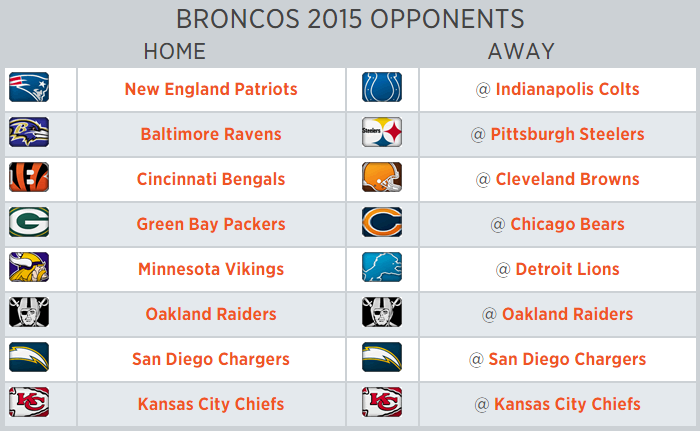 photo regarding Denver Broncos Printable Schedule known as Denver Broncos 2015 program: Competition finalized - Mile