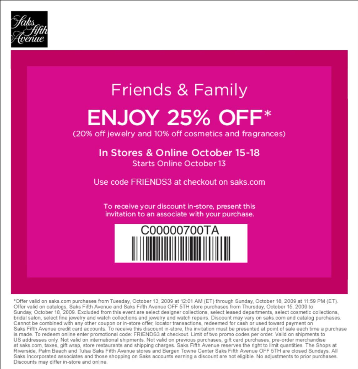 Saks fifth avenue coupon code