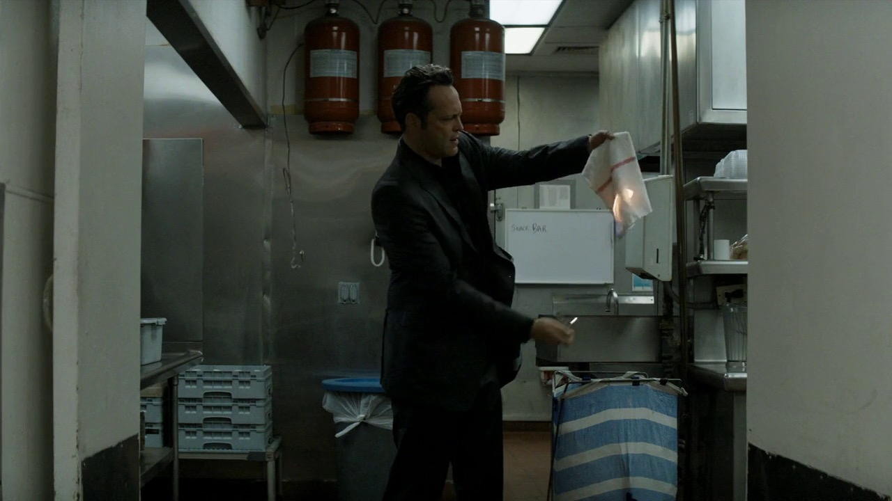 Frank lights a rag on fire