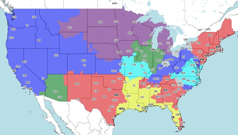 2015 Week 2 broadcast map