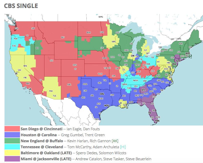 Jaguars vs dolphins tv viewing map for week 2 on cbs big cat country thanks to 506 sports for the easy to read map the purple represents markets where the jaguars dolphins game will be on thanks for showing the game gumiabroncs Gallery
