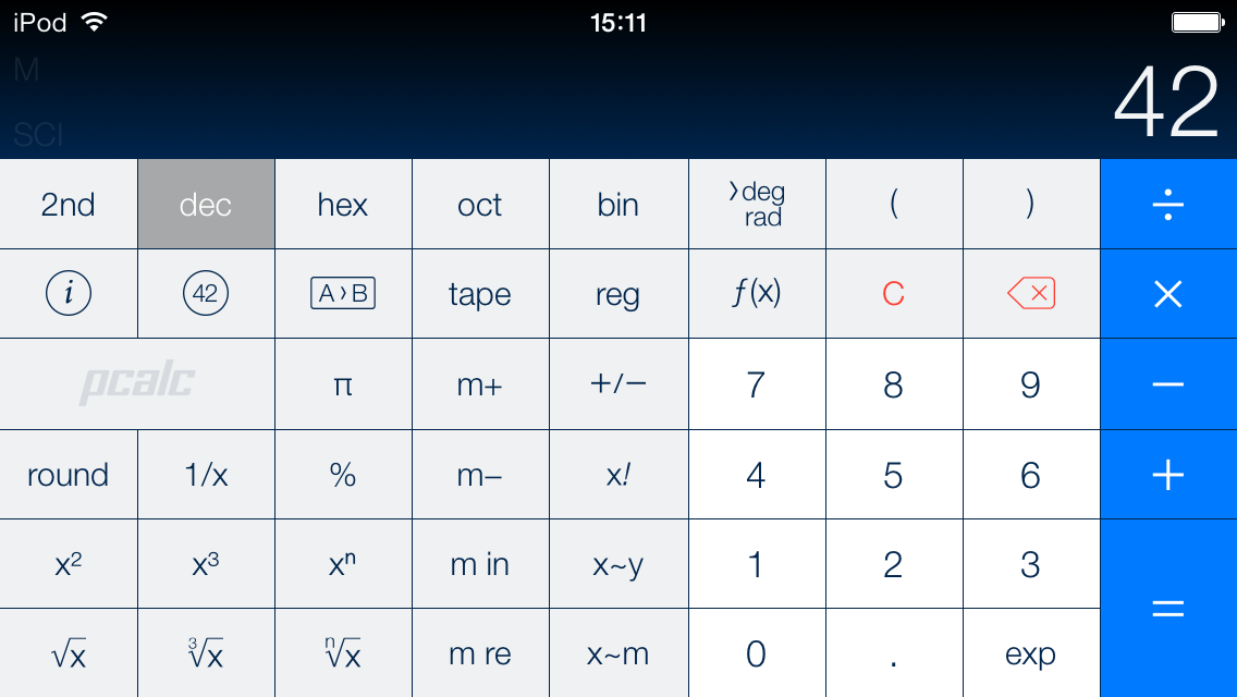 PCalc on iOS