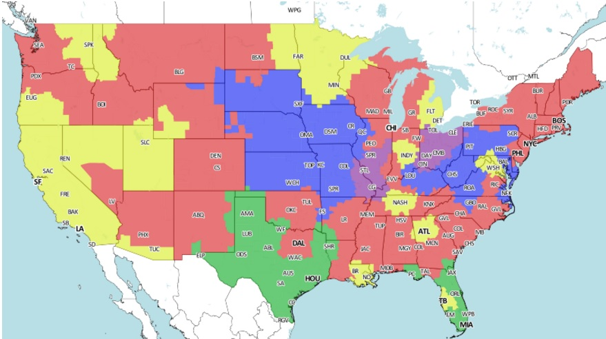 Raiders At Chargers Broadcast Map Is The Game On In Your