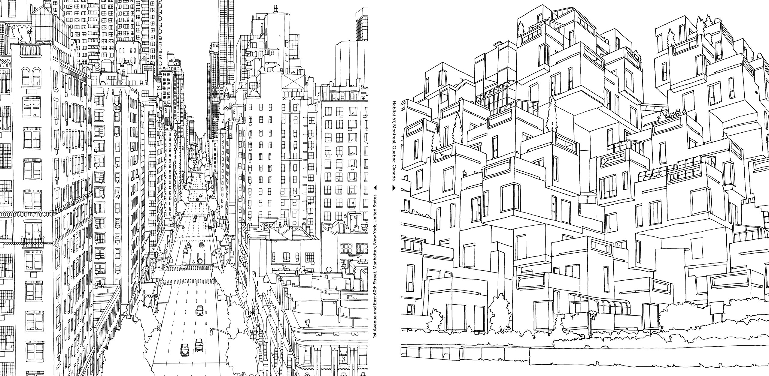 1st aveeast 60th st in manhattan and habitat 67 in montrealimage via amazon - Detailed Coloring Books