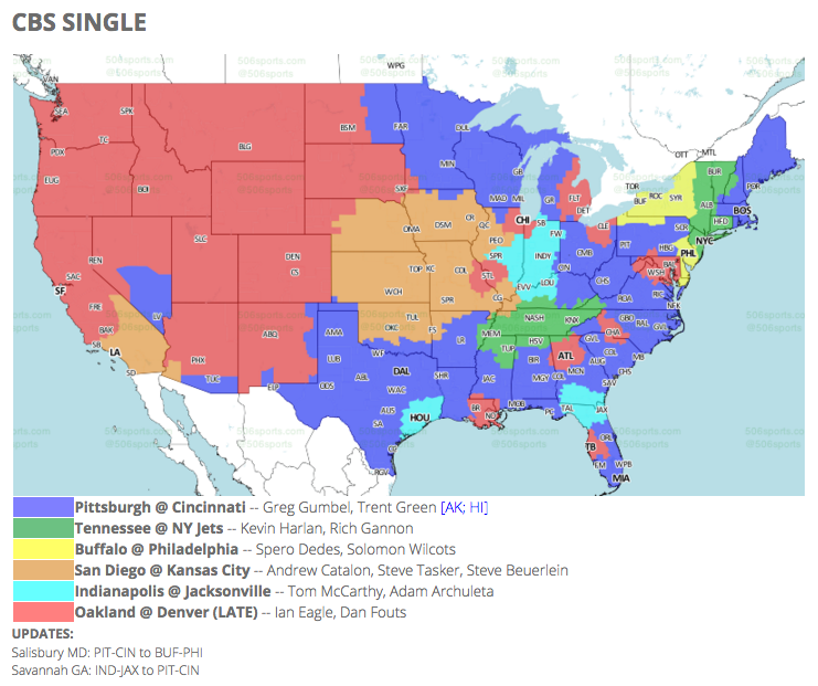 Jaguars Vs Colts CBS TV Coverage Map For Week Big Cat Country - Easy to read world map