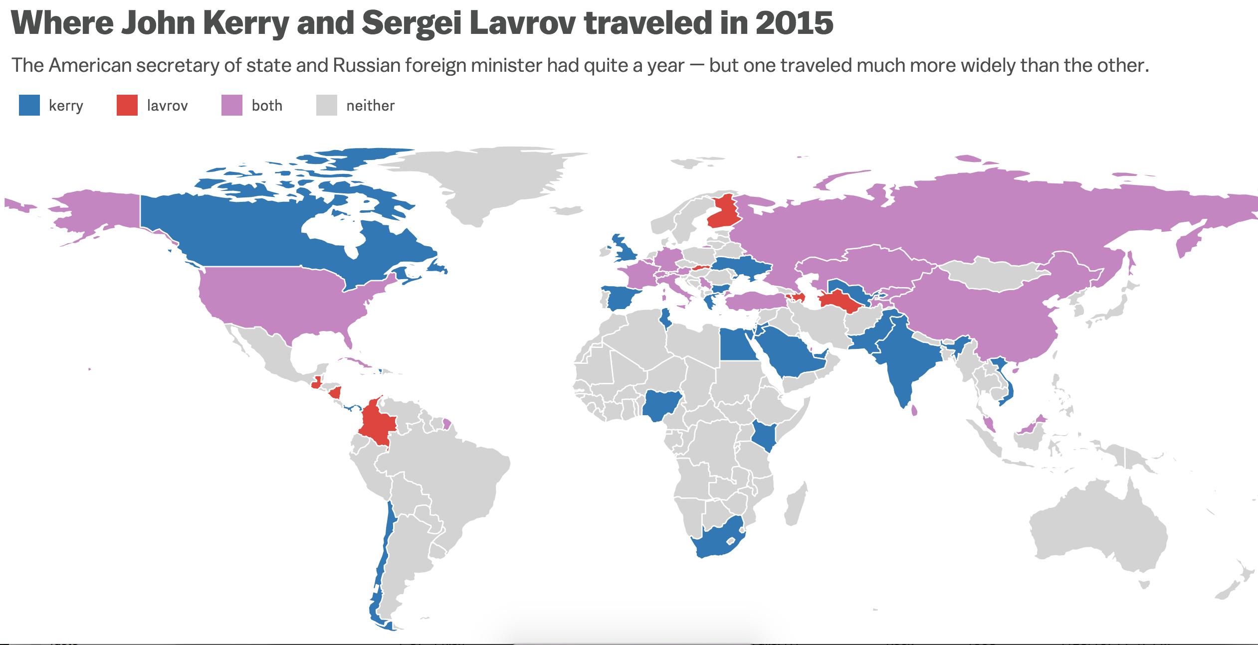 A Revealing Map Of Where America And Russias Top Diplomats Traveled - Map of where i traveled
