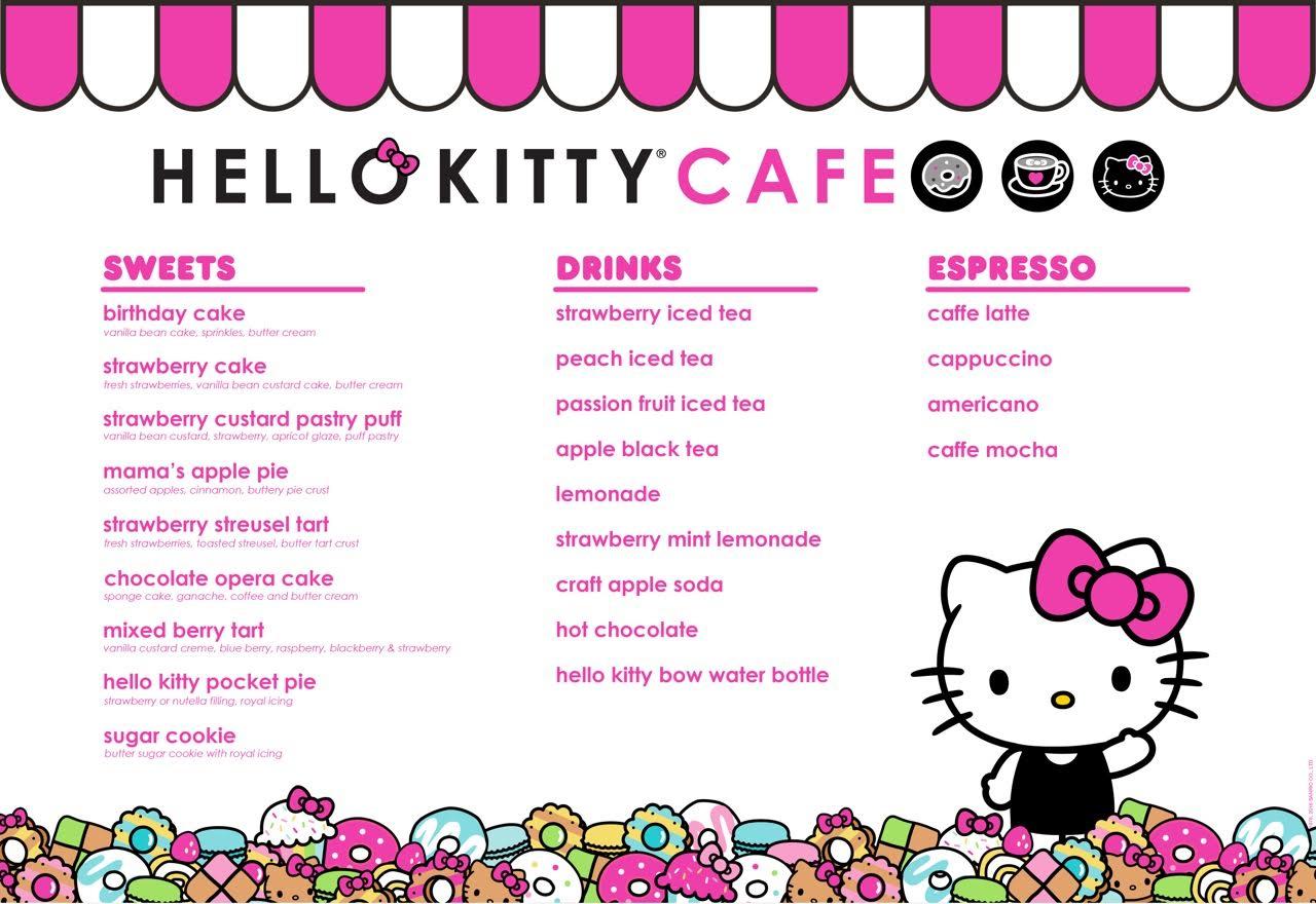 Menu Cafe Hello Kitty