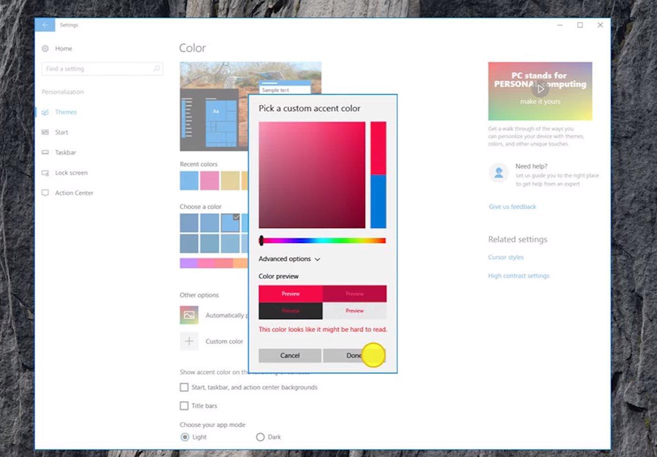 Accent colors Windows 10