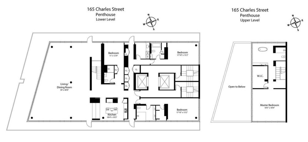 Penthouse atop richard meier 39 s glassy west village condo for 150 charles street floor plans