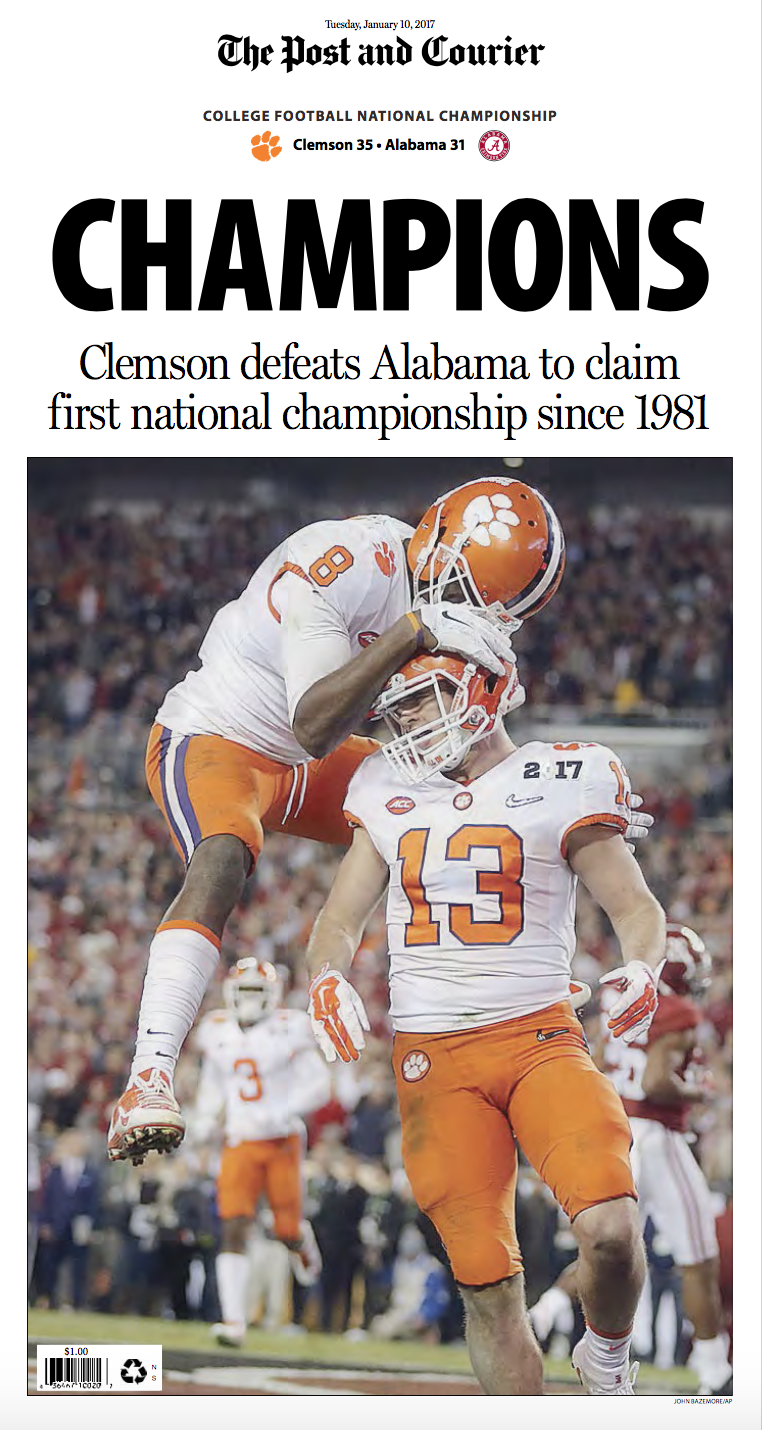 14 newspaper front pages from Clemson's National