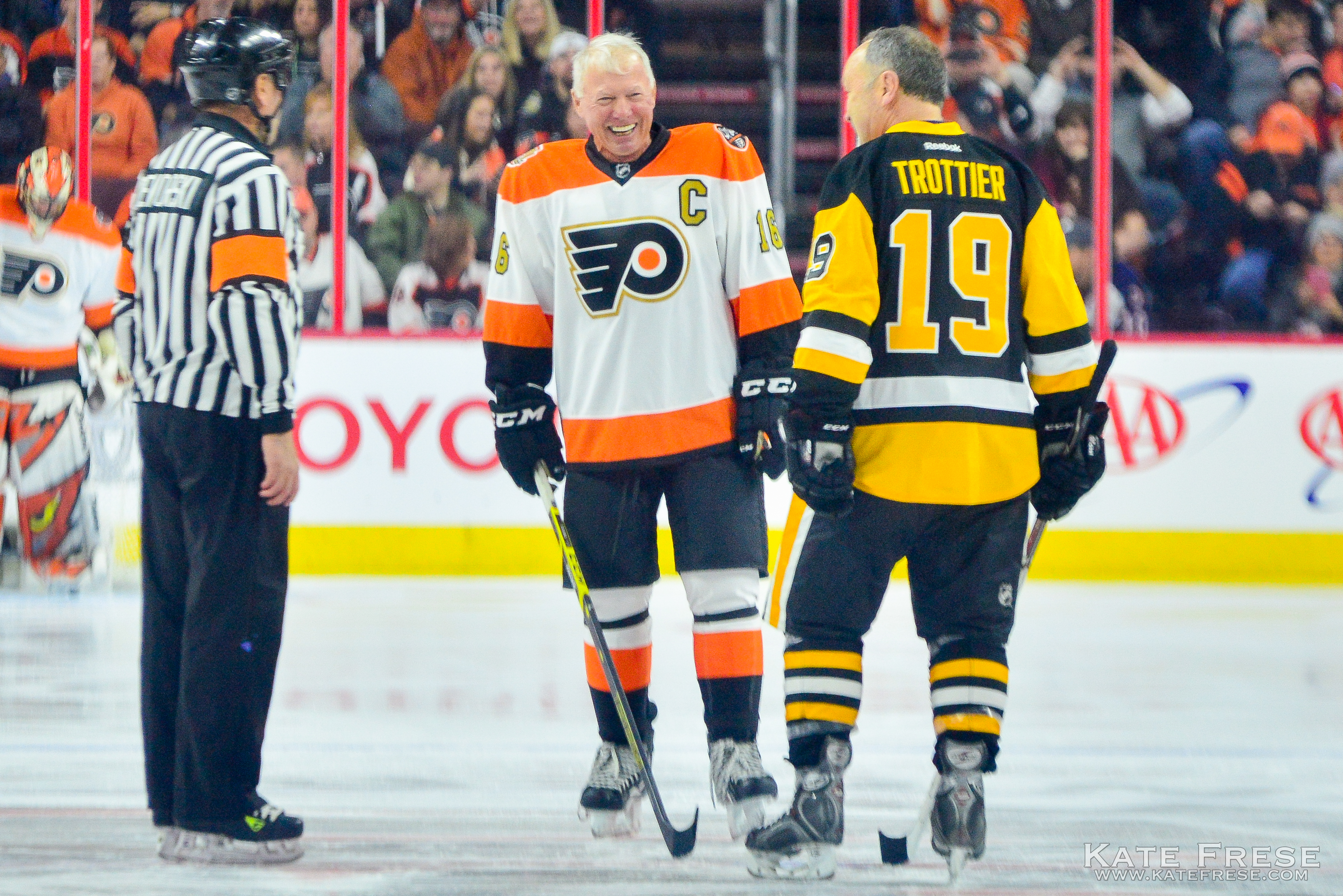 Bobby Clarke with Bryan Trottier before puck drop Kate Frese / SB Nation