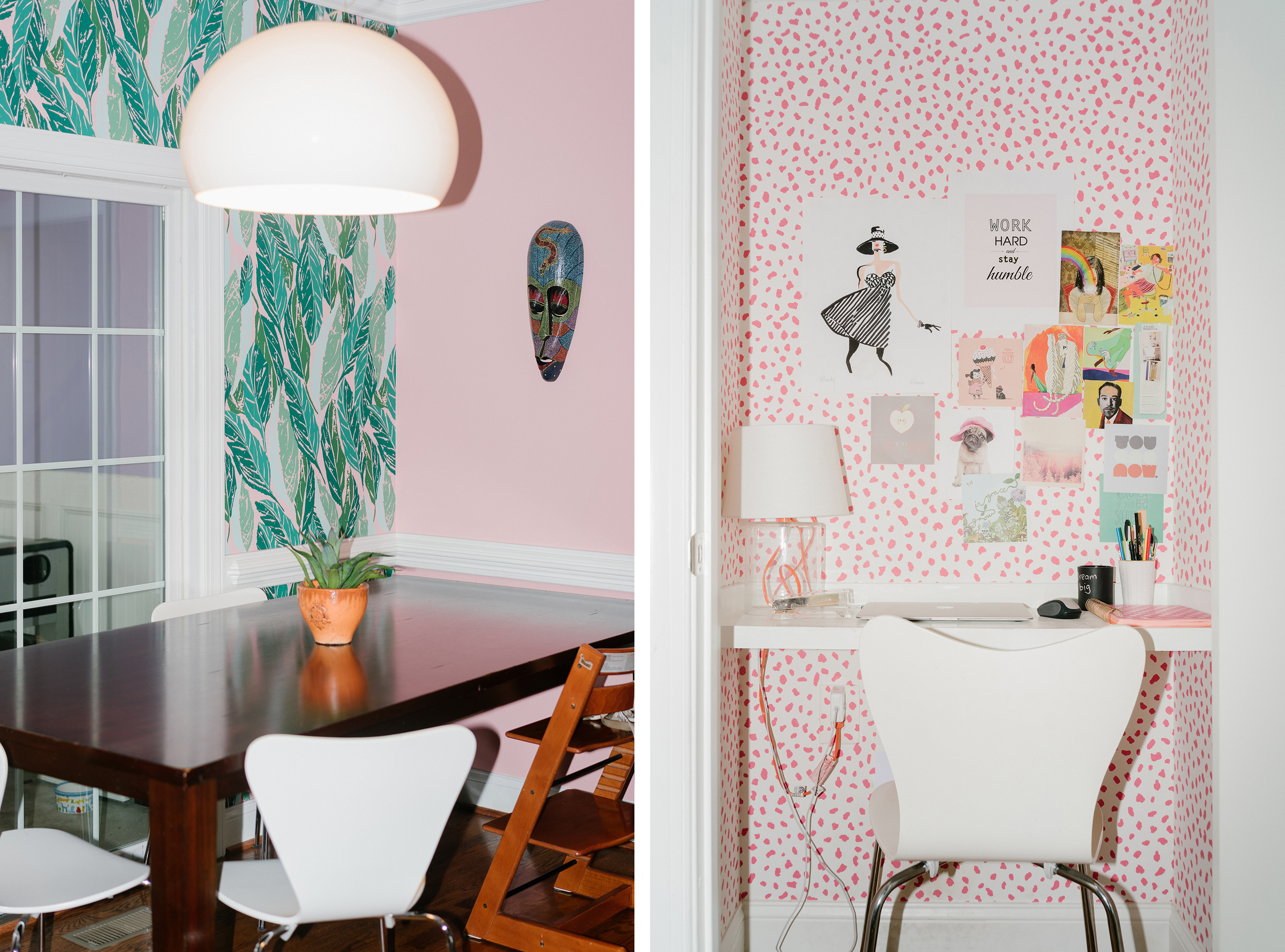 Pink in the dining room and also an area with a small desk. In design blogger s DIY dream house  color and pattern reign   Curbed
