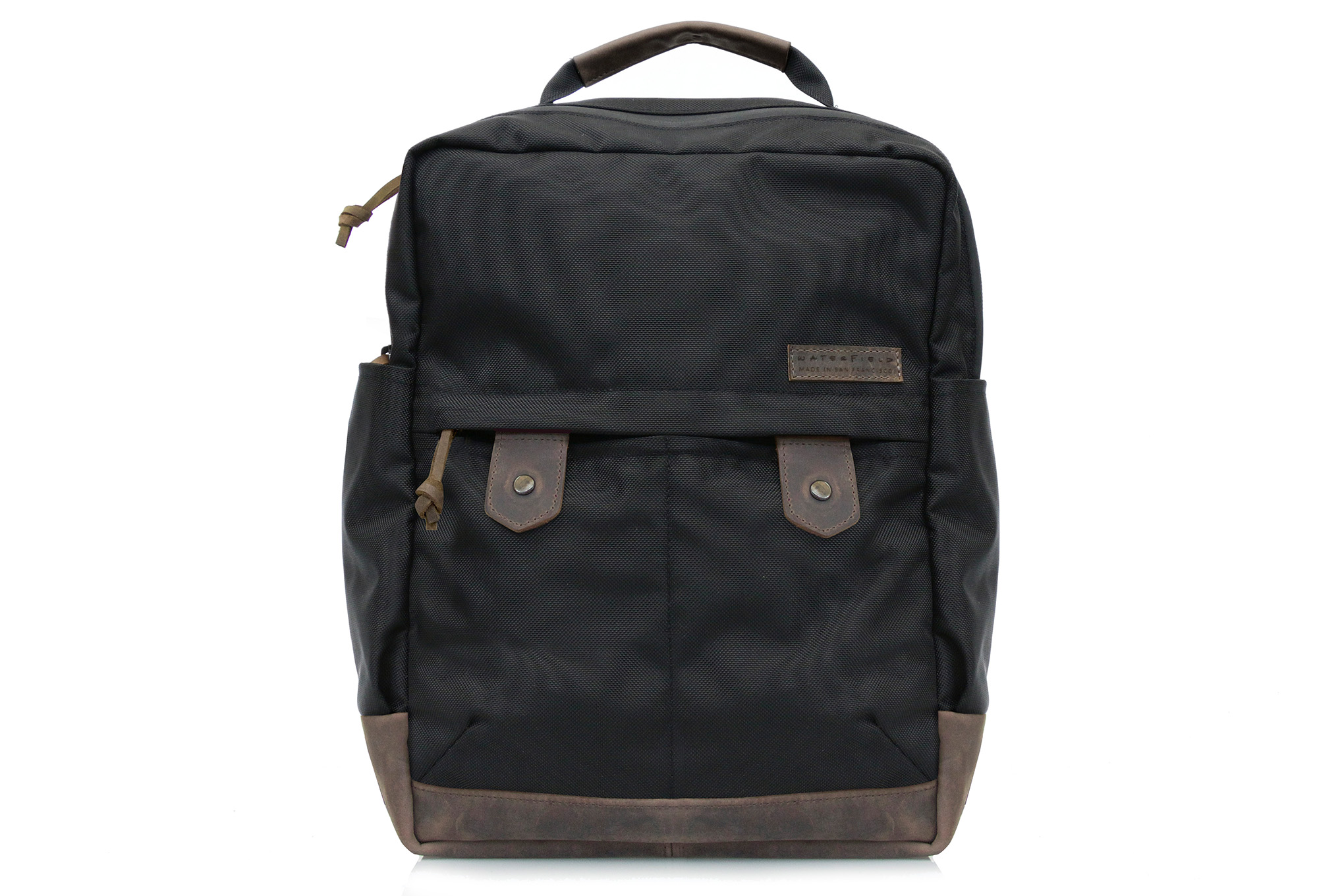 Bolt backpack in ballistic nylon and chocolate leather