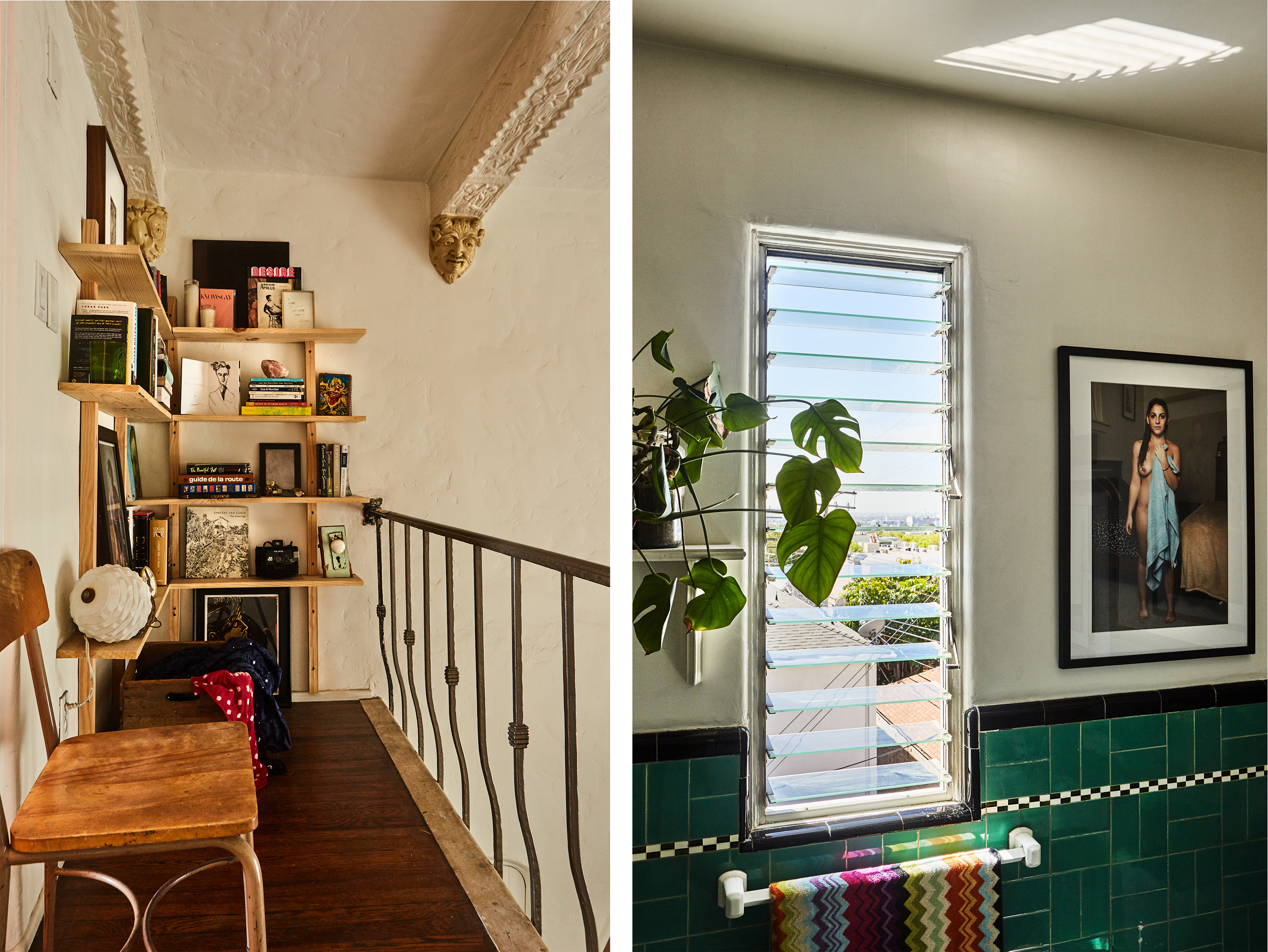 A built-in corner bookshelf makes a narrow landing functional. Green-and-black vintage tile decorates the bathroom.