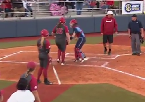 Alabama softball player gets tagged out after hitting home run