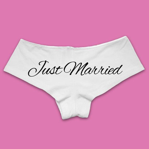 "7f0748524043f2 Bridesmaid T-shirts ""Just Married"" Panties, $15"